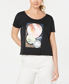 Roxy Juniors' Cotton Graphic-Print Cropped T-Shirt