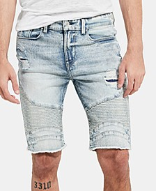 "Men's Slim-Fit Moto Denim 11"" Shorts"
