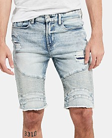 "GUESS Men's Slim-Fit Moto Denim 11"" Shorts"