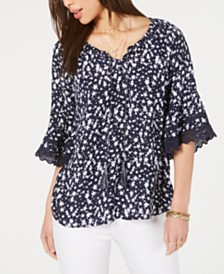Style & Co Printed Lace Bell-Sleeve Top, Created for Macy's