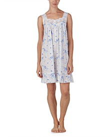 Cotton Floral-Print Embroidered Chemise Nightgown