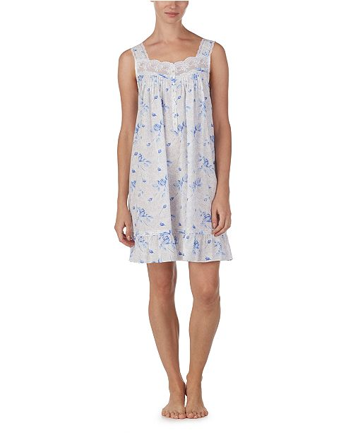 Eileen West Cotton Floral-Print Embroidered Chemise Nightgown