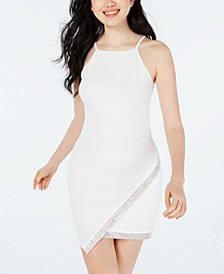 Juniors' Asymmetrical-Hem Rhinestone Dress