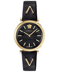 Women's Swiss V-Twist Black Leather Strap Watch 36mm