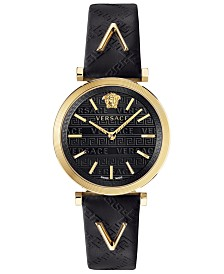 Versace Women's Swiss V-Twist Black Leather Strap Watch 36mm