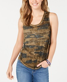 Lucky Brand Burnout Camo-Print Tank Top