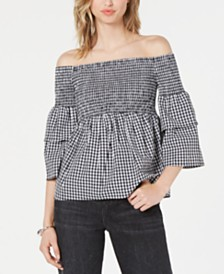 Bar III Gingham Off-The-Shoulder Smocked Blouse, Created for Macy's