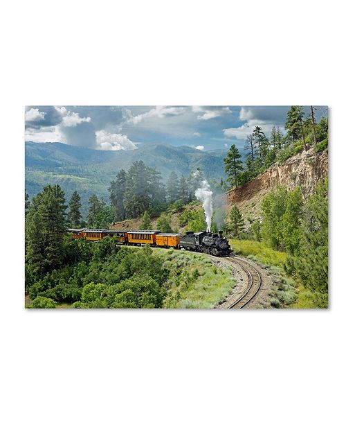 "Trademark Global Mike Jones Photo 'The Train, From Bridge' Canvas Art - 47"" x 30"" x 2"""
