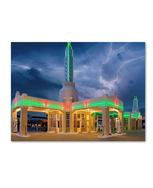 "Trademark Global Mike Jones Photo 'Rt 66 Shamrock Texas Conoco Lightning' Canvas Art - 24"" x 18"" x 2"""