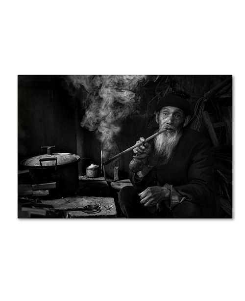 """Trademark Global Moises Levy 'Man And Pipe 1' Canvas Art - 19"""" x 12"""" x 2"""""""