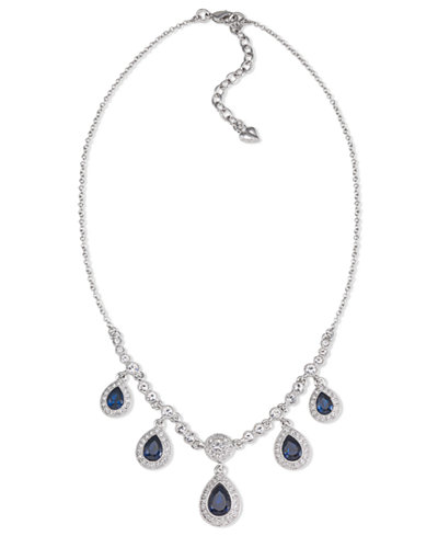 Carolee Necklace, Silver-Tone Blue Stone Pear Drop Frontal Necklace
