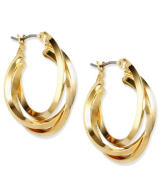 Image of Anne Klein Three Ring Hoop Earrings