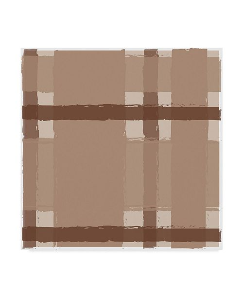 "Trademark Global Sher Sester 'Brown Stripe Plaid' Canvas Art - 35"" x 35"" x 2"""