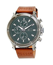 Men's Analog Brown Leather Strap Watch 28mm