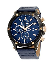 Men's Analog Blue Leather Strap Watch 28mm