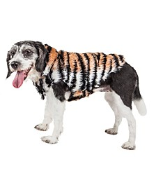 Pet Life Luxe 'Tigerbone' Glamourous Tiger Patterned Faux Fur Dog Coat Jacket