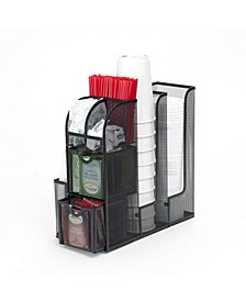 Coffee Condiment and Accessories Caddy Organizer, for Coffee Cups, Stirrers, Snacks, Sugars, etc. Mesh