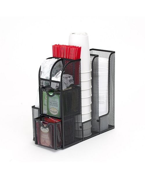Mind Reader Coffee Condiment and Accessories Caddy Organizer, for Coffee Cups, Stirrers, Snacks, Sugars, etc. Mesh