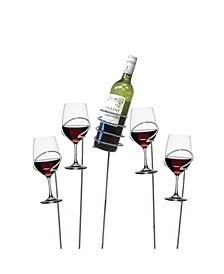 Metal 5 Piece Wine Bottle and Glass Holder Sticks Set