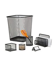 6 Piece Desk Organizer Set, Pencil Holder, Letter Tray, Business Card Holder, Supplies Organizer