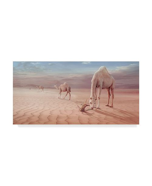 "Trademark Global Sulaiman Almawash 'Camels Trip' Canvas Art - 19"" x 10"" x 2"""