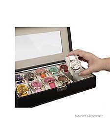 Watch Box Organizer Case, Fits 12 Watches, Mens Jewelry Display Drawer Storage, PU Leather