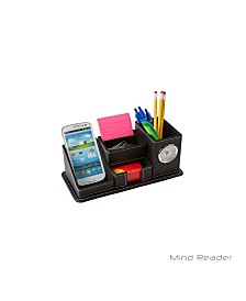 Mind Reader Faux Leather 5 Compact Compartment Desk Organizer