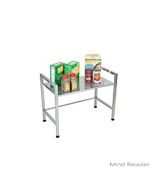 Mind Reader Metal Top Microwave Shelf Counter Unit with 2 Hooks
