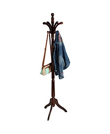 11 Hook Solid Free Standing Wood Coat Rack, Entryway Coat Tree Hat Hanger Umbrella Holder