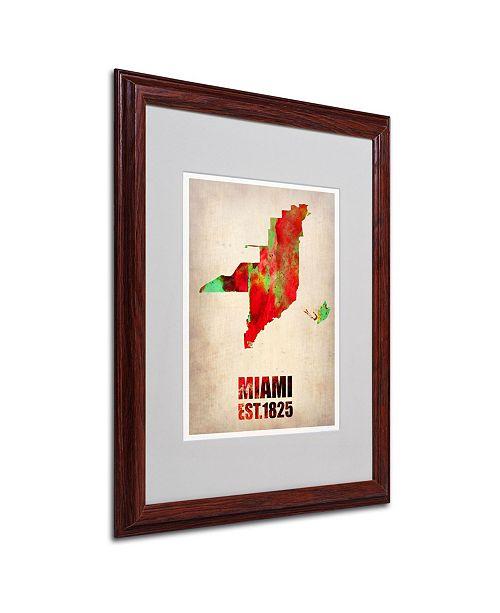"Trademark Global Naxart 'Miami Watercolor Map' Matted Framed Art - 16"" x 20"" x 0.5"""
