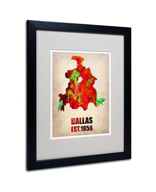 "Trademark Global Naxart 'Dallas Watercolor Map' Matted Framed Art - 20"" x 16"" x 0.5"""