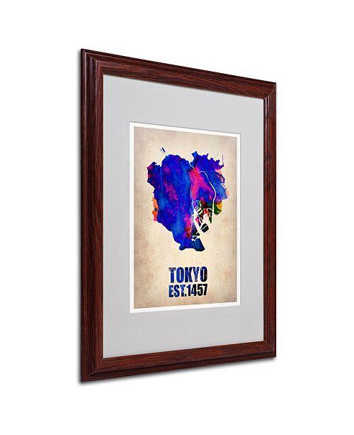 """Trademark Global Naxart 'Tokyo Watercolor Map' Matted Framed Art - 16"""" x 20"""" x 0.5"""""""