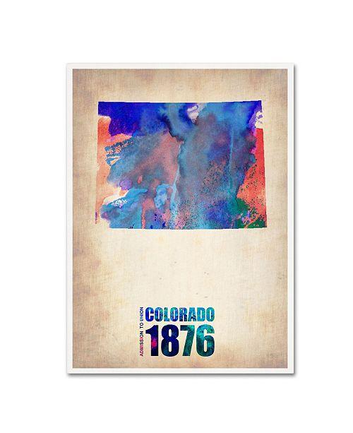 "Trademark Global Naxart 'Colorado Watercolor Map' Canvas Art - 18"" x 24"" x 2"""