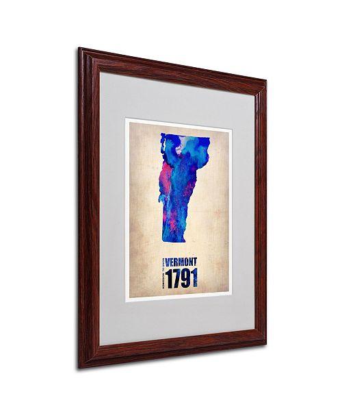 "Trademark Global Naxart 'Vermont Watercolor Map' Matted Framed Art - 16"" x 20"" x 0.5"""