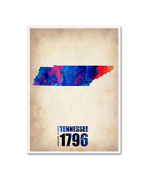 "Trademark Global Naxart 'Tennessee Watercolor Map' Canvas Art - 35"" x 47"" x 2"""