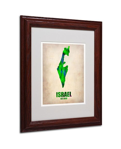 "Trademark Global Naxart 'Israel Watercolor Map' Matted Framed Art - 11"" x 14"" x 0.5"""