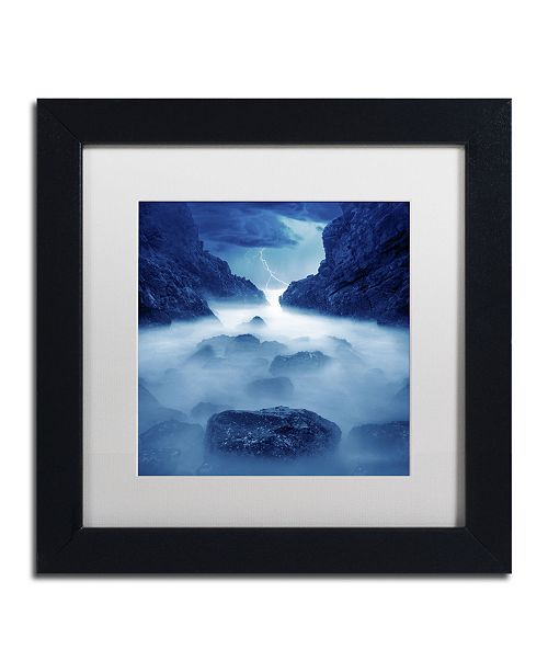 "Trademark Global Moises Levy 'Tormenta en Ixtapa Blue' Matted Framed Art - 11"" x 11"" x 0.5"""