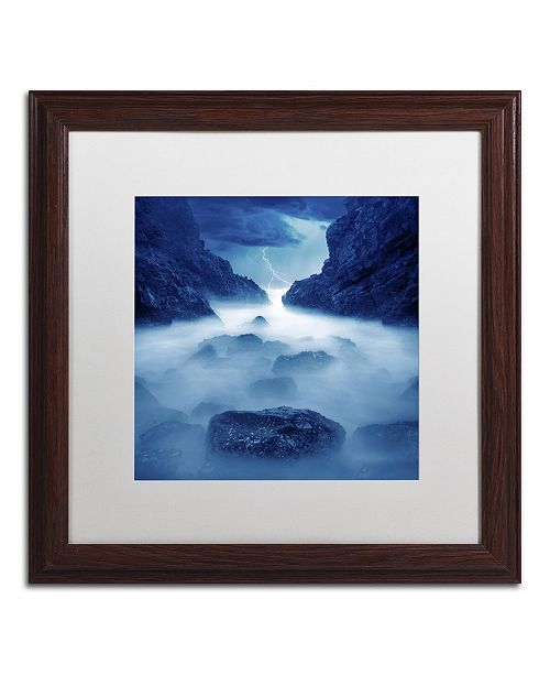 "Trademark Global Moises Levy 'Tormenta en Ixtapa Blue' Matted Framed Art - 16"" x 16"" x 0.5"""
