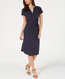 Lucky Brand Printed Knit Henley Dress