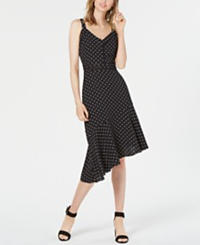 Bar III Polka-Dot Asymmetric-Hem Fit & Flare Dress, Created for Macy's