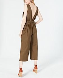 Petite Cropped Tie-Waist Jumpsuit