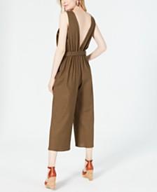 Monteau Petite Cropped Tie-Waist Jumpsuit