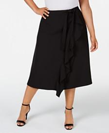 Calvin Klein Plus Size Ruffled Faux-Wrap Skirt