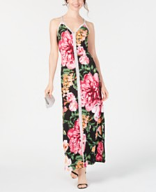 MSK Embellished Floral-Print Gown