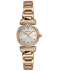 Versace Women's Swiss Mini Vanity Rose Gold Ion-Plated Stainless Steel Bracelet Watch 27mm
