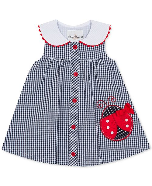 Rare Editions Baby Girls Gingham Seersucker Dress