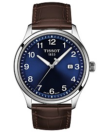 Tissot Men's Swiss Gent XL Brown Leather Strap Watch 42mm