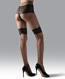Natori Luxe Lace Back-Seam Sheer Tights, Online Only