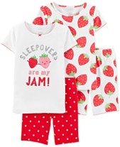 75705eb2ebac Carter's Little & Big Girls 4-Pc. Cotton Strawberry Pajamas Set