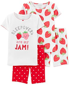 Carter's Little & Big Girls 4-Pc. Cotton Strawberry Pajamas Set